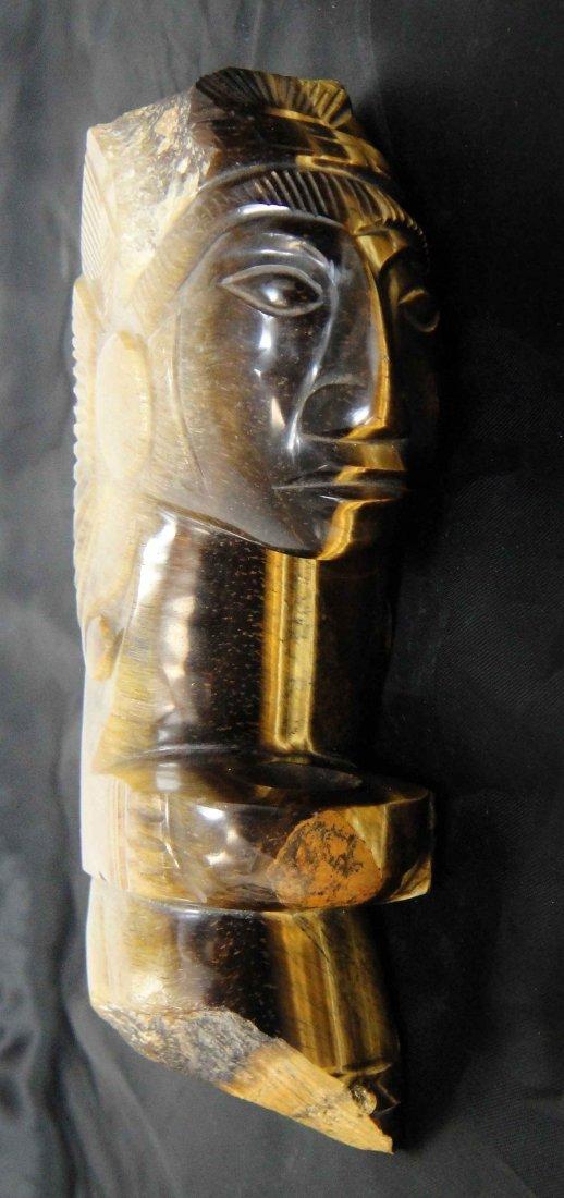 36: Aztec Period Carved Tiger Eye Gemstone God Statue