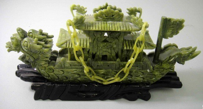 40: Beautiful Hand-Carved Jade Dragon Ship w/ Wooden S