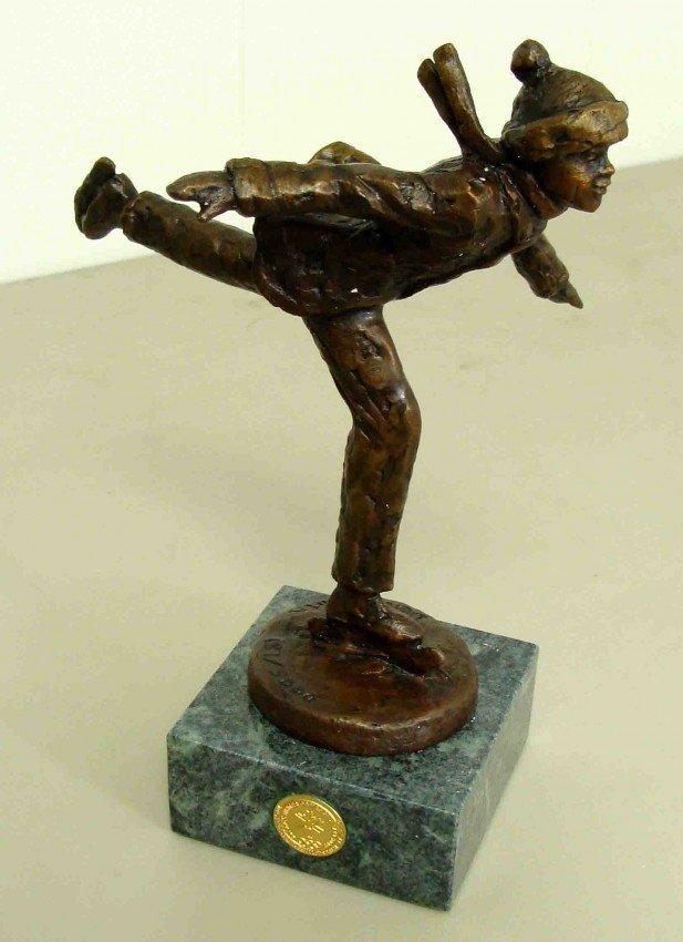 "42: Dennis Smith Bronze ""Skater"" Figurine Signed by Ar"