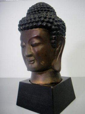 BRONZE BUDHA STATUE WITH STAND AGE UNKNOWN W540