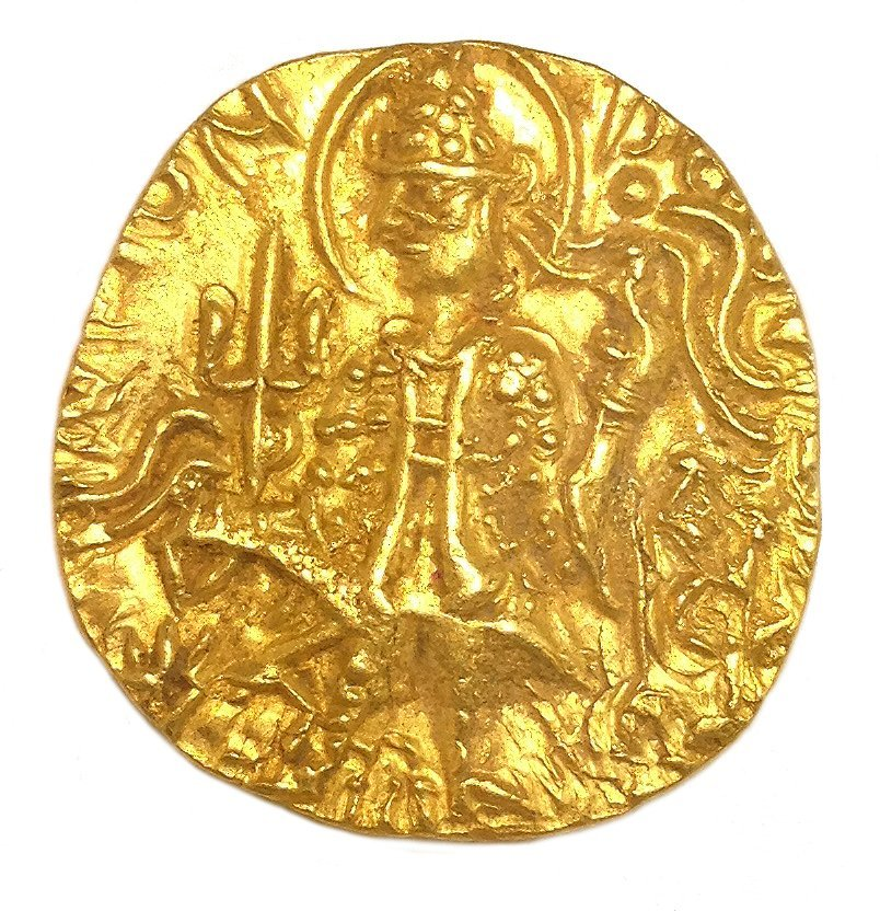 69H: Ancient 375AD Kushan Mayores Domos 22KT Gold Coin