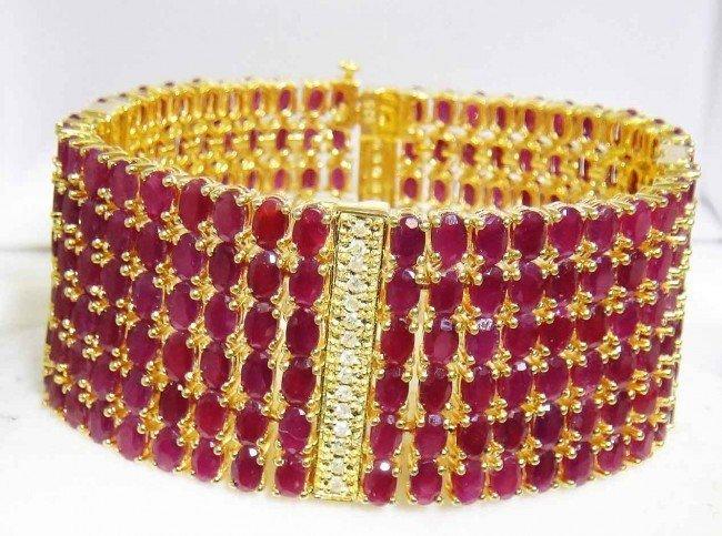 40B: 84.98ct. Ruby & 0.95ct. Diamond Gold Plated Bracel