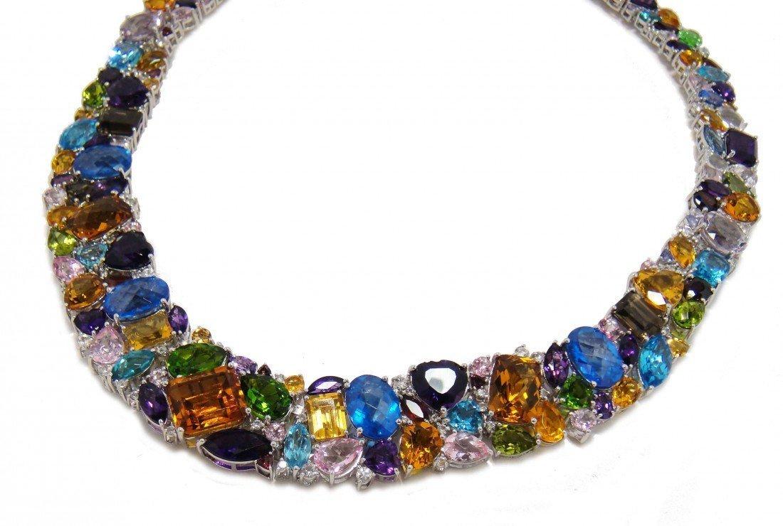 41B: 444.85ctw Multi-Color Gemstone Sterling Silver Nec