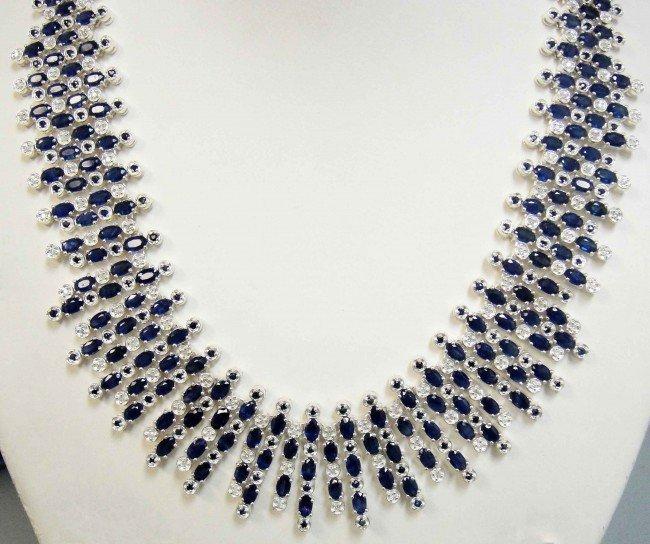 42B: 61.75ctw Sapphires & 2ctw Diamond Silver Ladies Ne