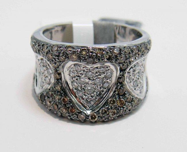 13R: 1.24ctw Cluster Diamond 18KT White Gold Heart Ring