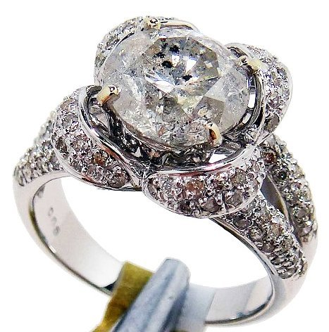 20R: 3.91ctw, 3.26ct I Clean CNTR Diamond 18KT Gold Rin