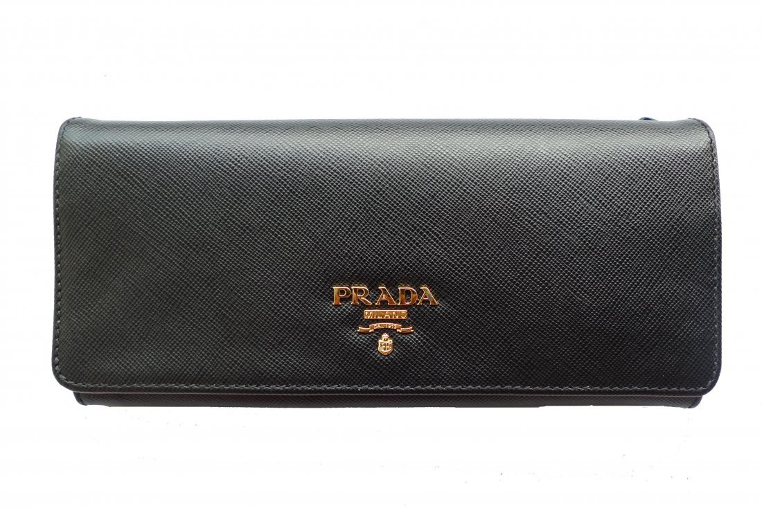 11E: Prada blackLeather  wallet.