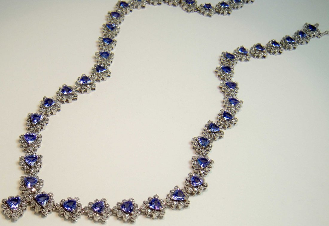 17.62ct Tanzanite & 3.91ct Diamond 14KT Gold Necklace