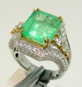 6.11ct Emerald & 1.40ctw Diamond 14KT Gold Ring