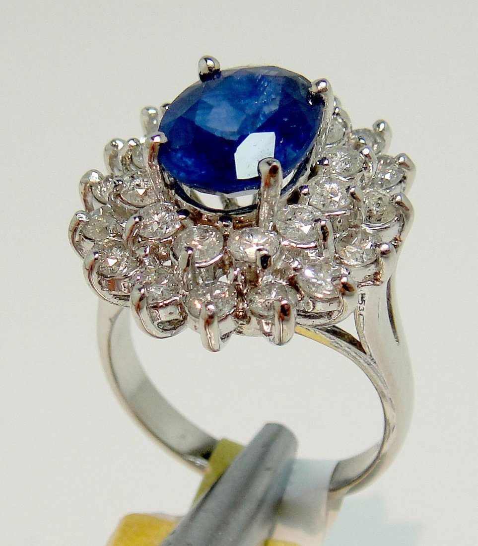 2.97ct Sapphire & 1.53ct Diamond 14KT White Gold Ring
