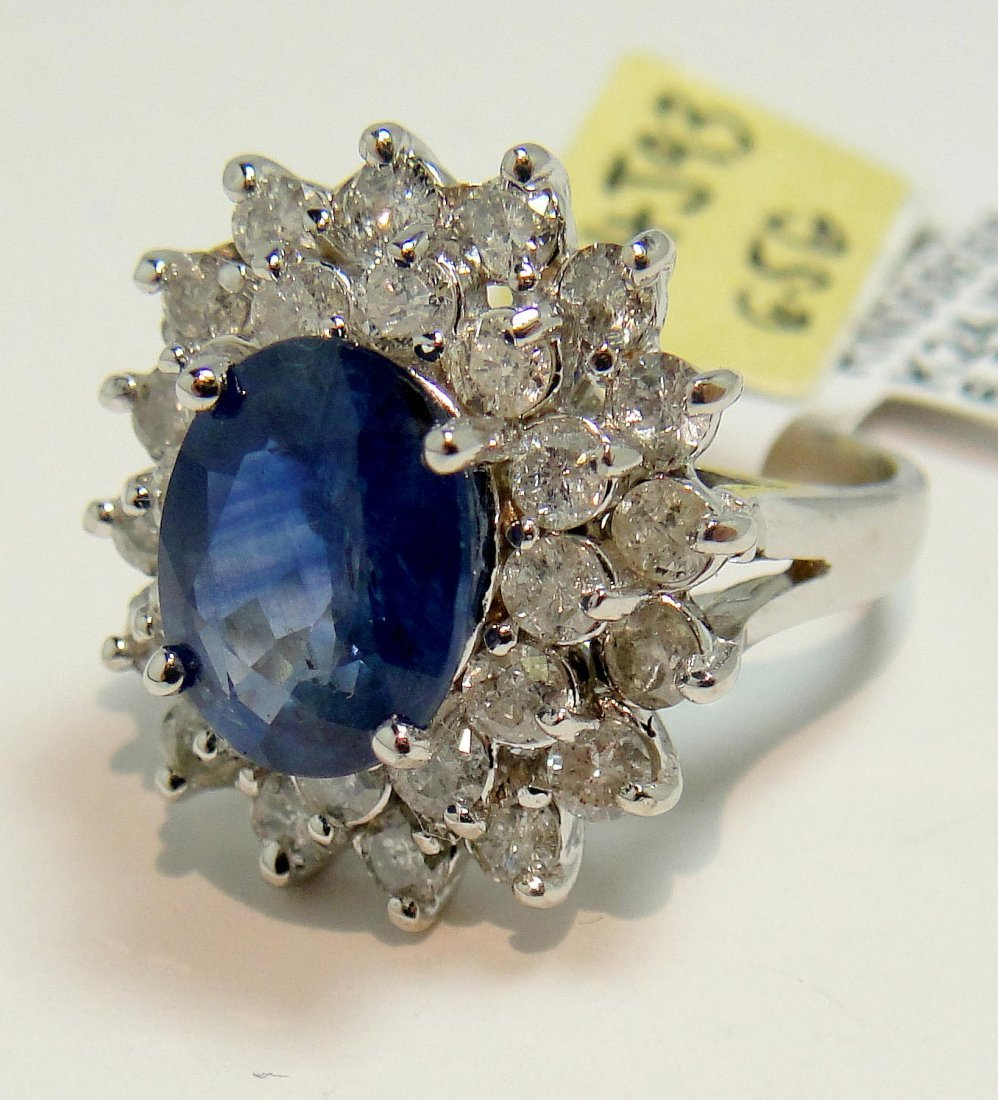 2.97ct Sapphire & 1.53ct Diamond 14KT White Gold Ring - 2