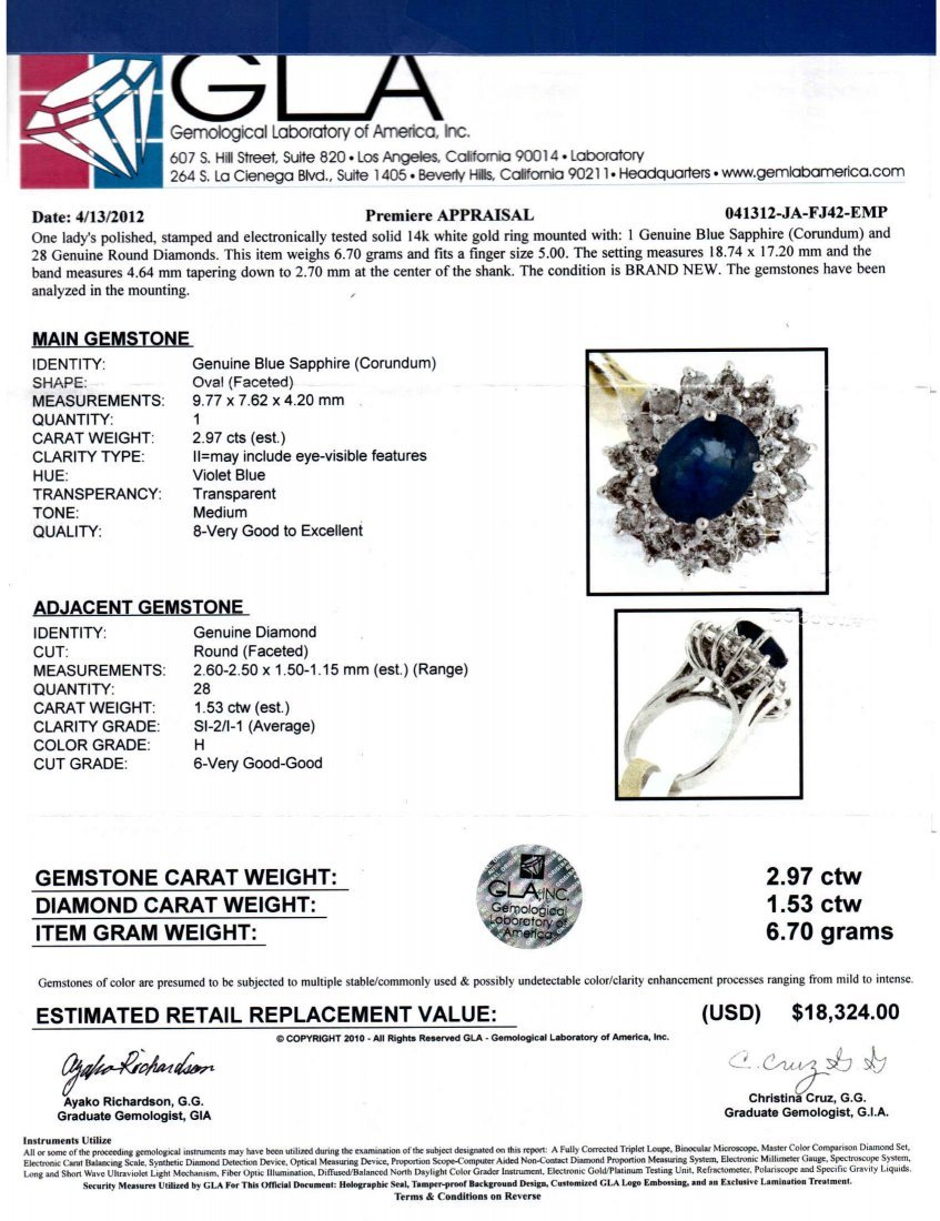 2.97ct Sapphire & 1.53ct Diamond 14KT White Gold Ring - 3