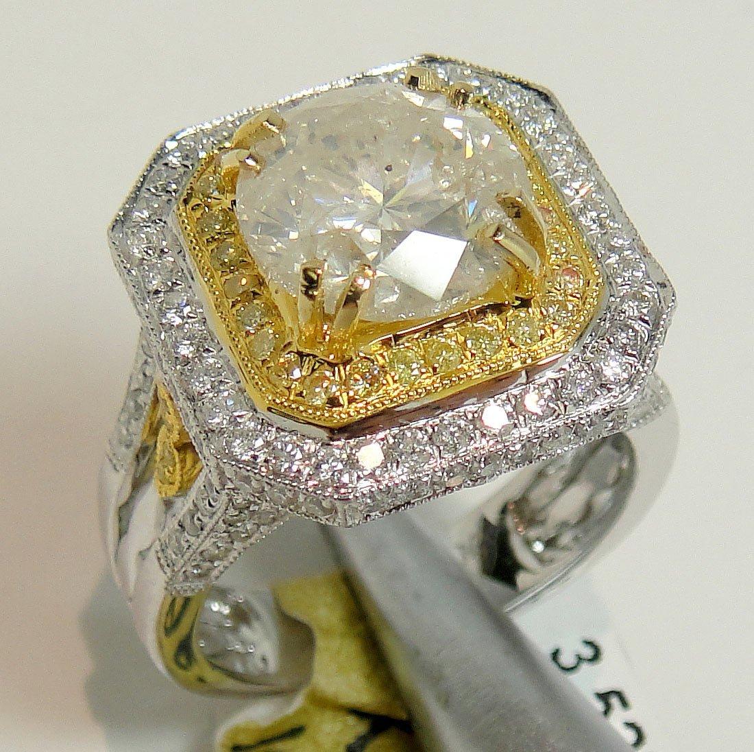 4.69ctw (3.52ct I2 K CNTR) Diamond 18KT Gold Ring AIG