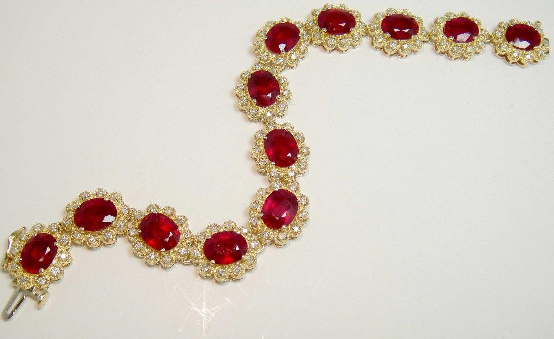 35.35ctw Ruby & 1.53ctw Diamond 14KT Gold Bracelet