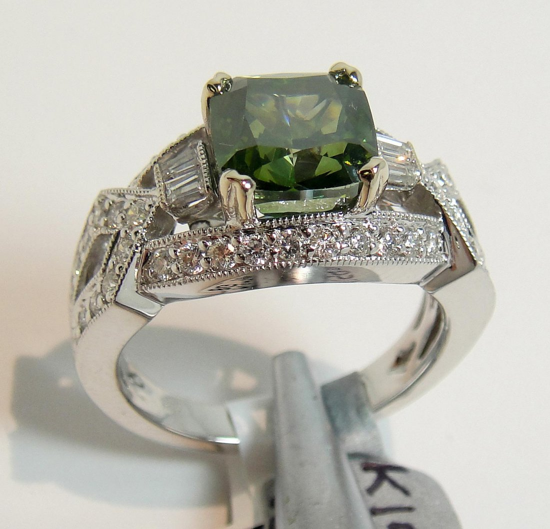 4.13ctw, 3.43ct SI-2 Green Diamond 18KT Gold Ring