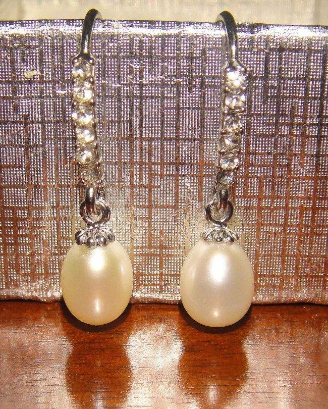 45O: 52C: AAA White Pearl Drop Earrings w/ Swarovski Cr