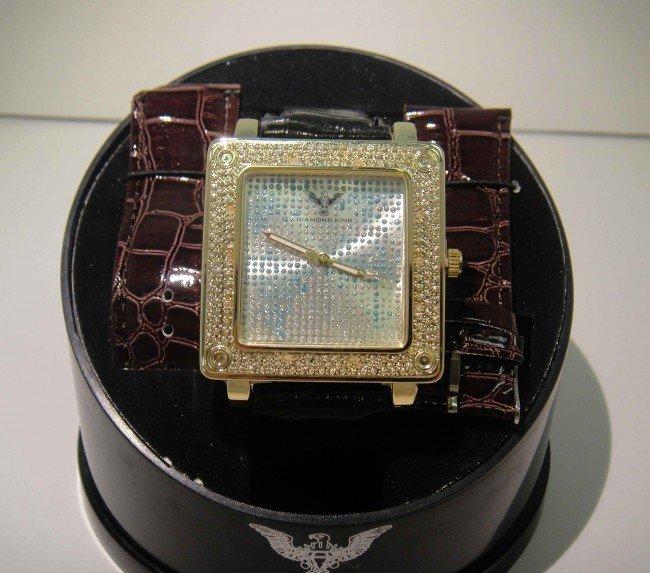 35O: New Diamond King Time Mens Diamond Bezel Watch