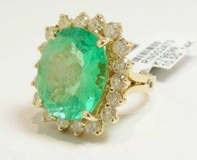 10.91ct Emerald & 2.07ct Diamond 14KT Gold Ring