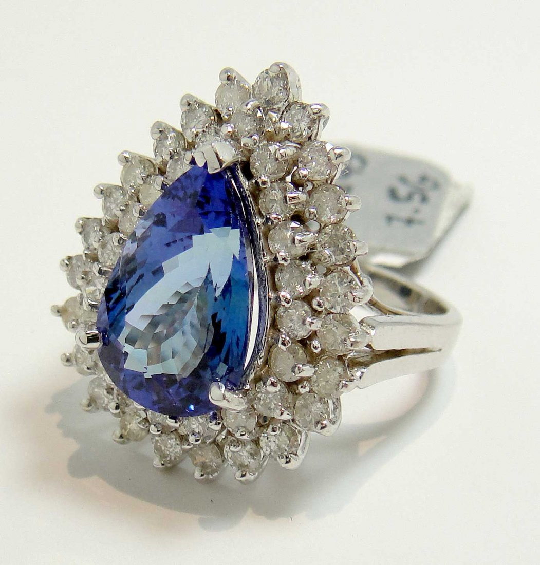 5.10ct Tanzanite & 1.49ct Diamond 14KT White Gold Ring