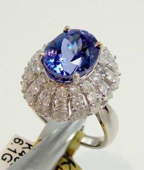 4.56ct Tanzanite & 1.46ctw Diamond 14KT Gold Ring