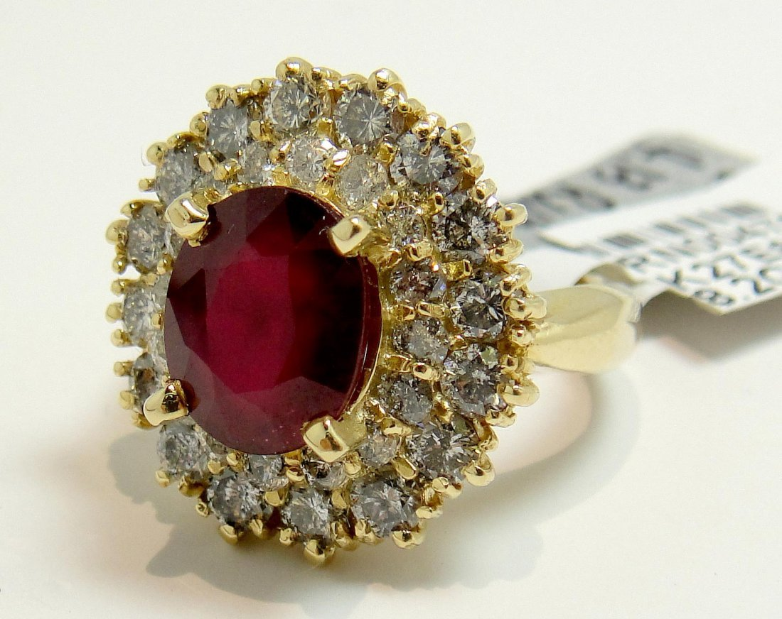 4.13ct Ruby & 2.00ct Diamond 14KT Gold Ring