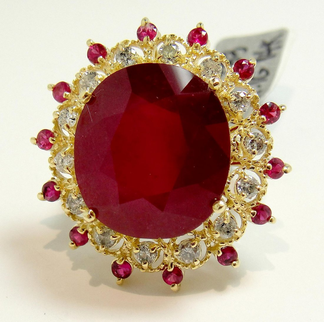 20.47ct Ruby & 0.57ct Diamond 14KT Gold Ring