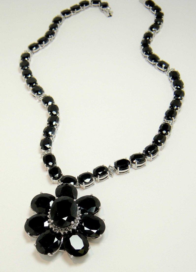 205.02ct Sapphire & 2.02ct Diamond 14KT Gold Necklace