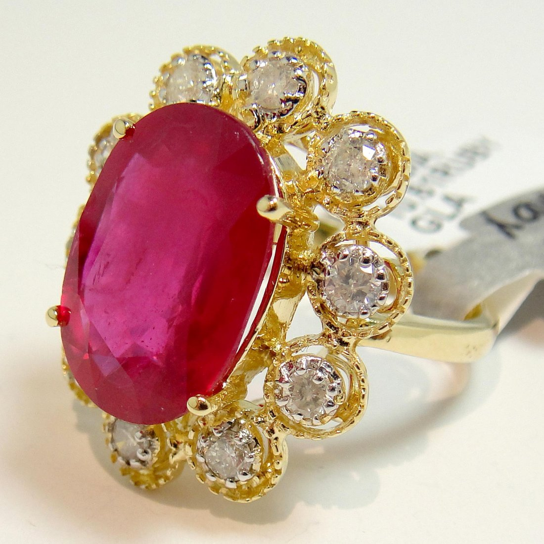 10.61ct Ruby & 0.65ct Diamond 14KT Gold Ring