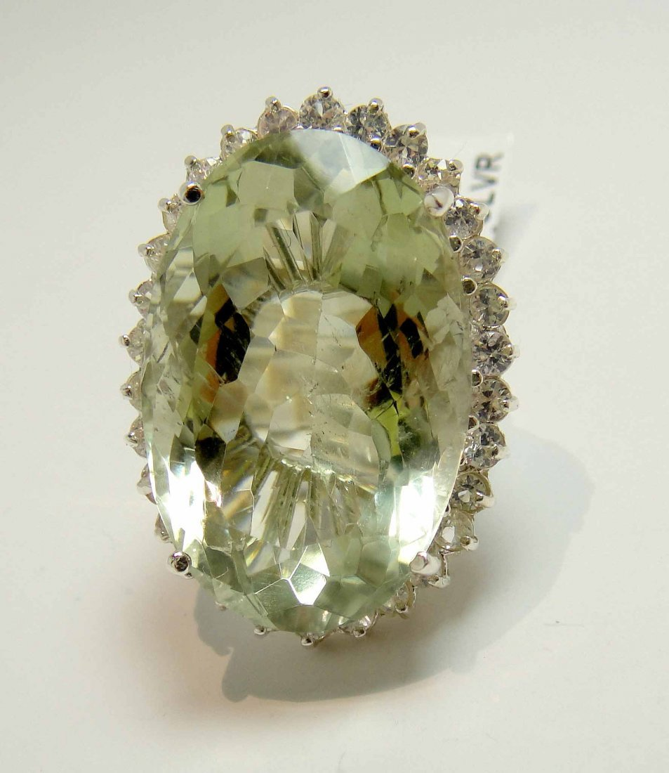 39.18ct Prasiolite & 1.95ctw CL-Sapphire Silver Ring