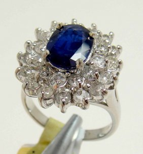 1.98ct Sapphire & 1.65ct Diamond 14KT White Gold Ring