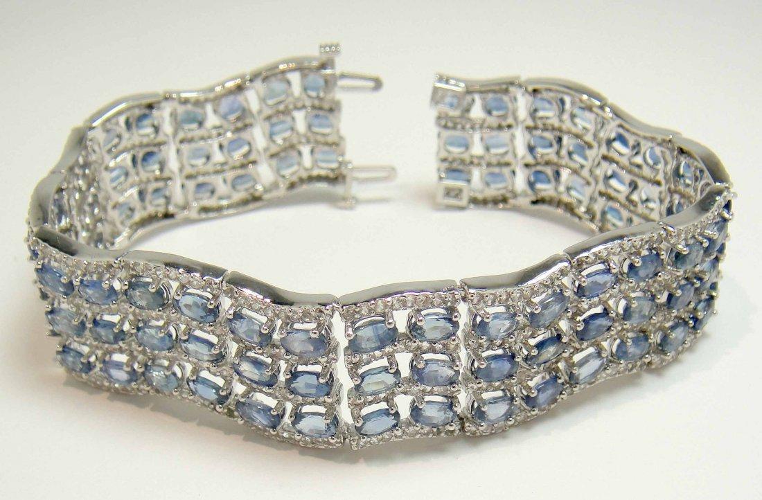 31.82ct Blue Sapphire & 7.41ct CL Sapp Silver Bracelet