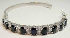 10.34ct Blue Sapphire & 2.67ct CL Sapp Silver Bracelet