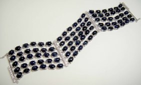 118.56ct Blue Sapphire & 1.24ct CL-Sapp Silver Braclet
