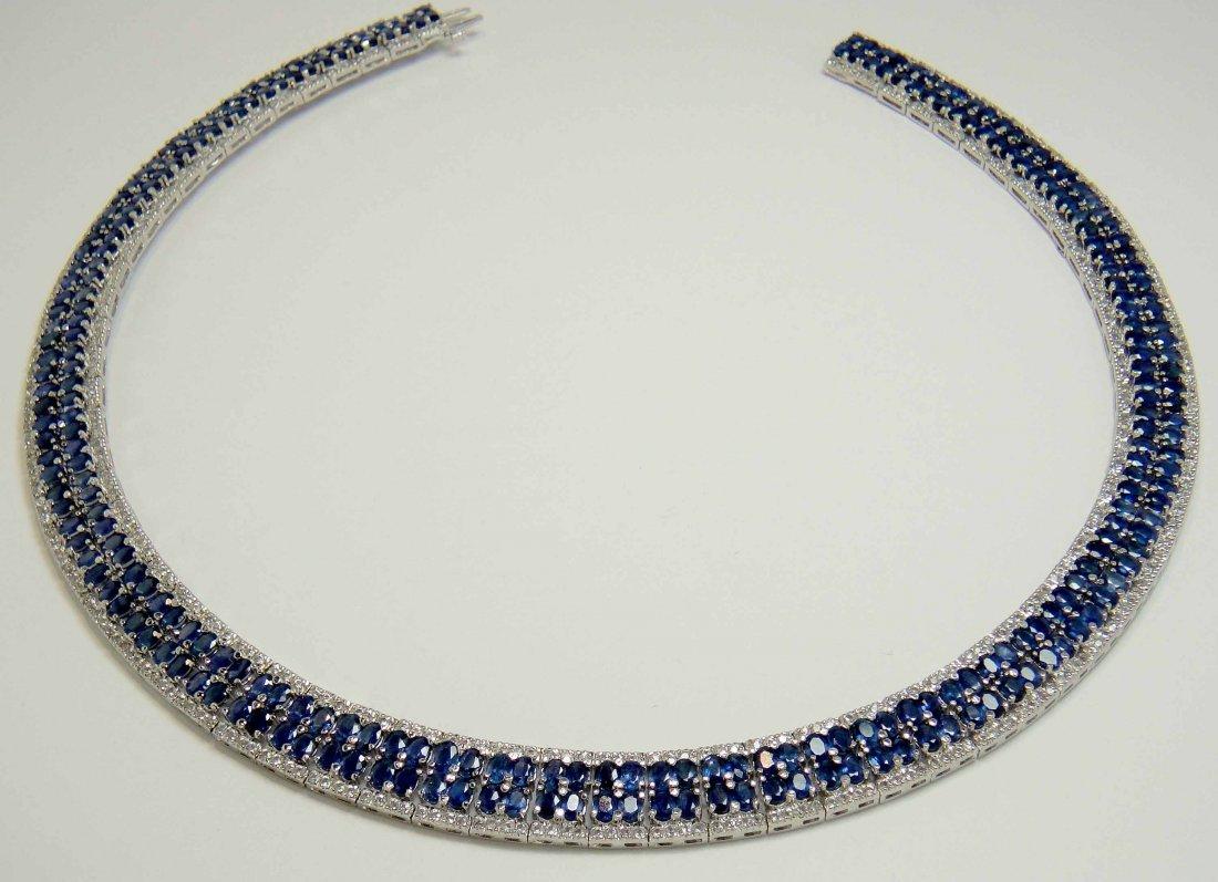 57.36ct sapphire & 7.21ct CL Sapp Platinum Plated Neckl
