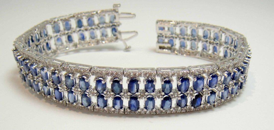 22.07ct Sapphire & 2.33ct CL Sapphire Silver Bracelet