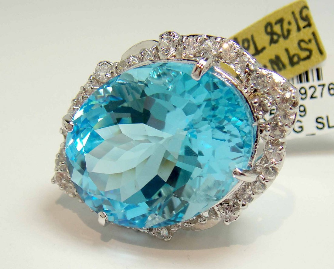 48.05ct Topaz & 1.60ct CL-Sapphire Silver Ring