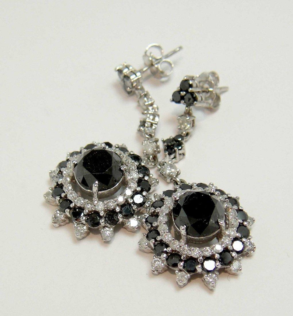 2: 6.92ctw Black/White Diamond 14KT White Gold Earring