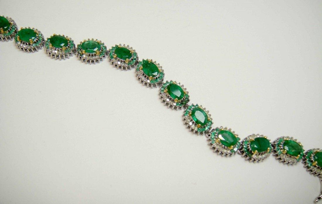 32: 14.16ct Emerald & 1.59ct Diamond Silver Bracelet - 2