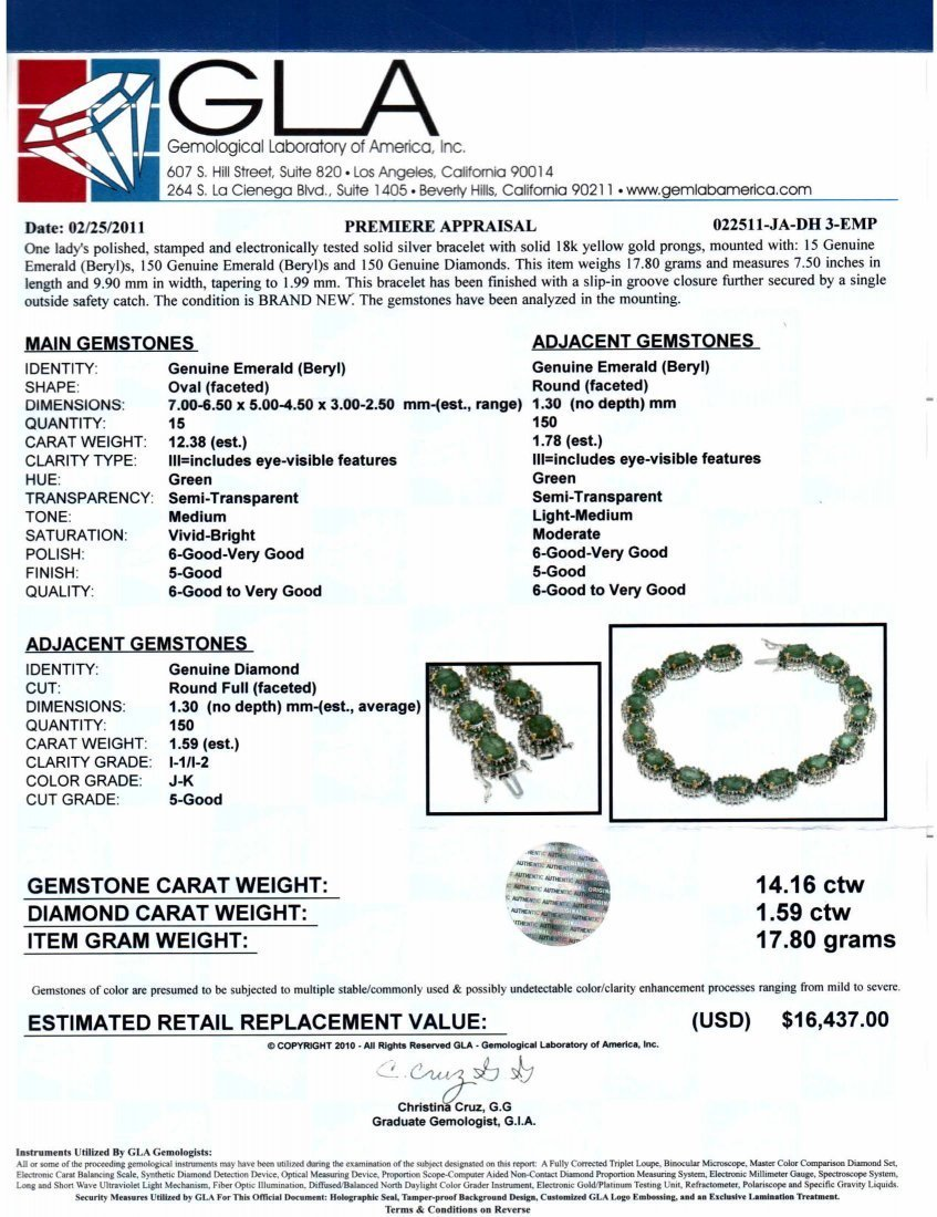 32: 14.16ct Emerald & 1.59ct Diamond Silver Bracelet - 3