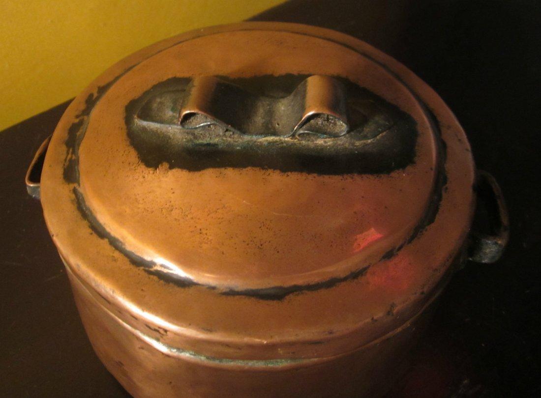 Antique copper handmade Primitive old pot pan w/ lid