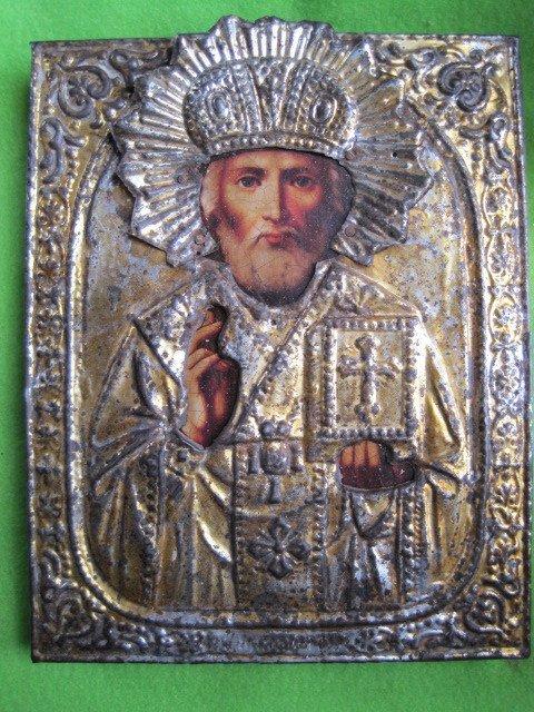2A: Antique Russian Orthodox Icon Saint Nicholas