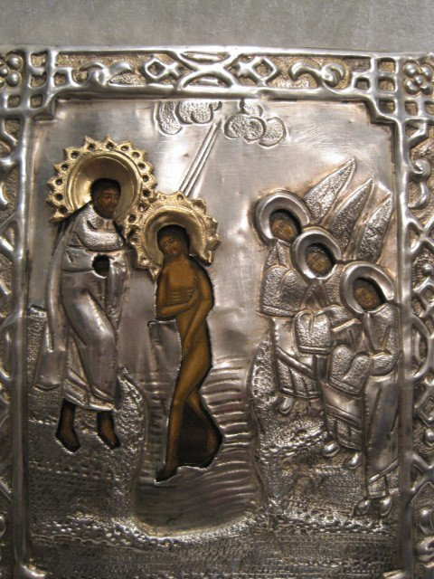 3A: Antique Russian Silver plated Orthodox Icon The Epi