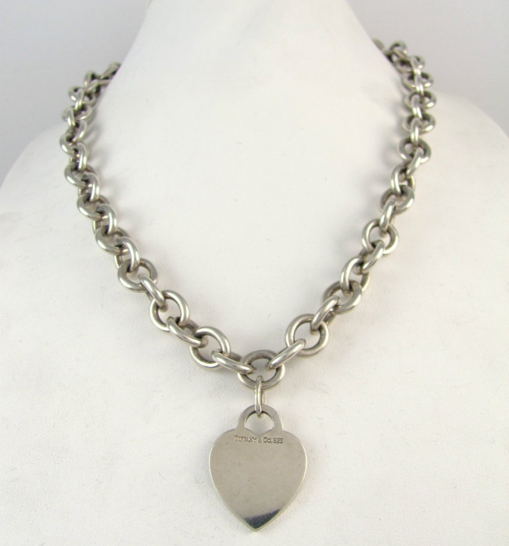 Tiffany & Co Sterling Silver Chain Link Heart Tag Neck