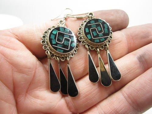 .925 Sterling Silver Onyx & Malacite Dangle Earring