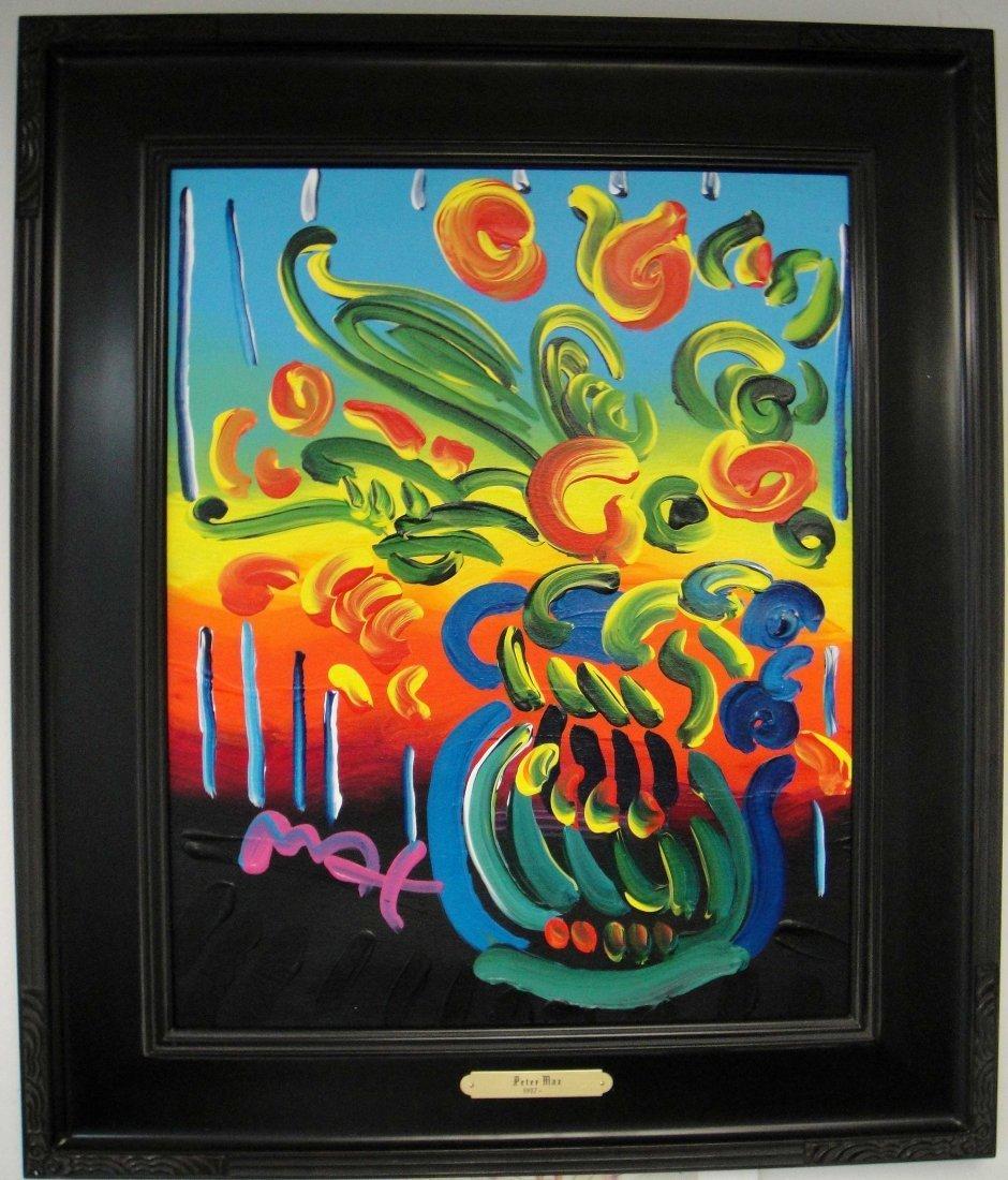 """PETER MAX """"Flower Vase"""" Original Oil on Canvas- Signed"""