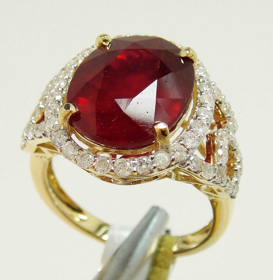 2W: 8.86ct Ruby & 0.87ctw Diamond 14KT Gold Ring