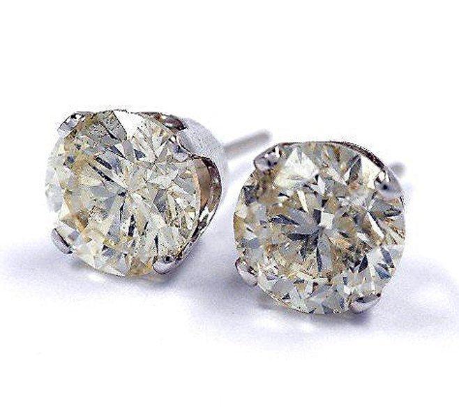 104R: 3.81ctw Diamond Stud 14KT Gold Earrings