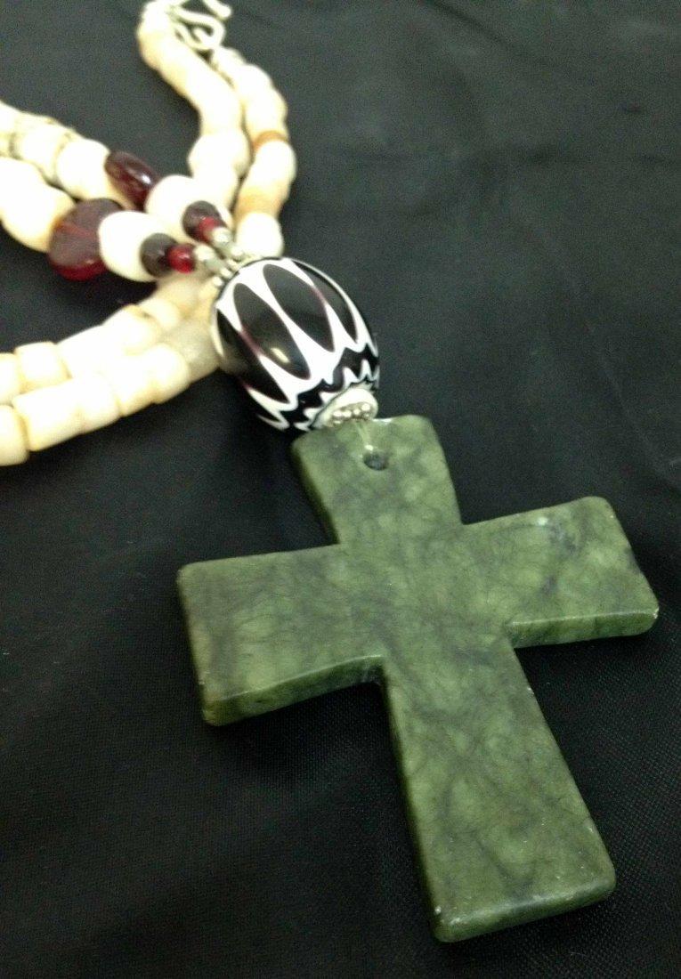 1R: Antique Beads + Jade Handmade Cross Sterling - 2