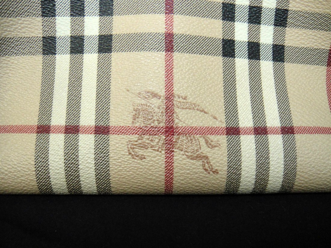 2C: Authentic Burberry Canvas/Leather Ladies Handbag - 2