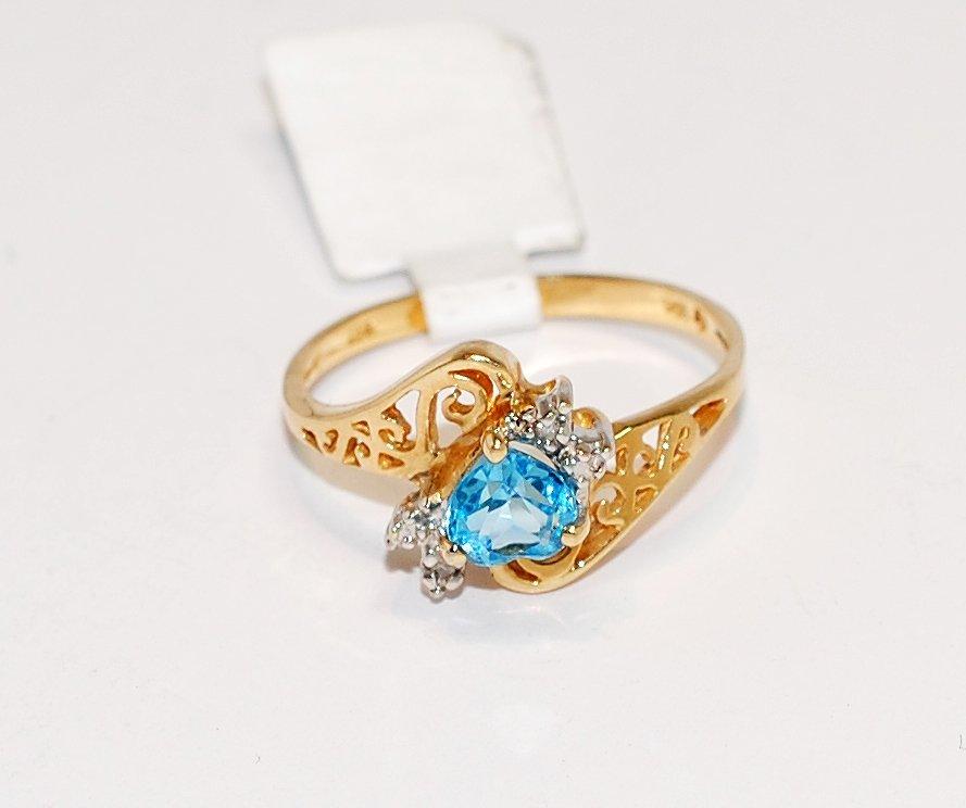 1Z: 10KT Yellow Gold Tourmaline & Diamond Ring